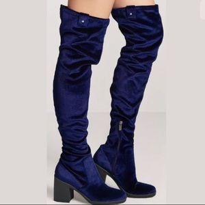 Forever 21 Thigh High Velvet Boots